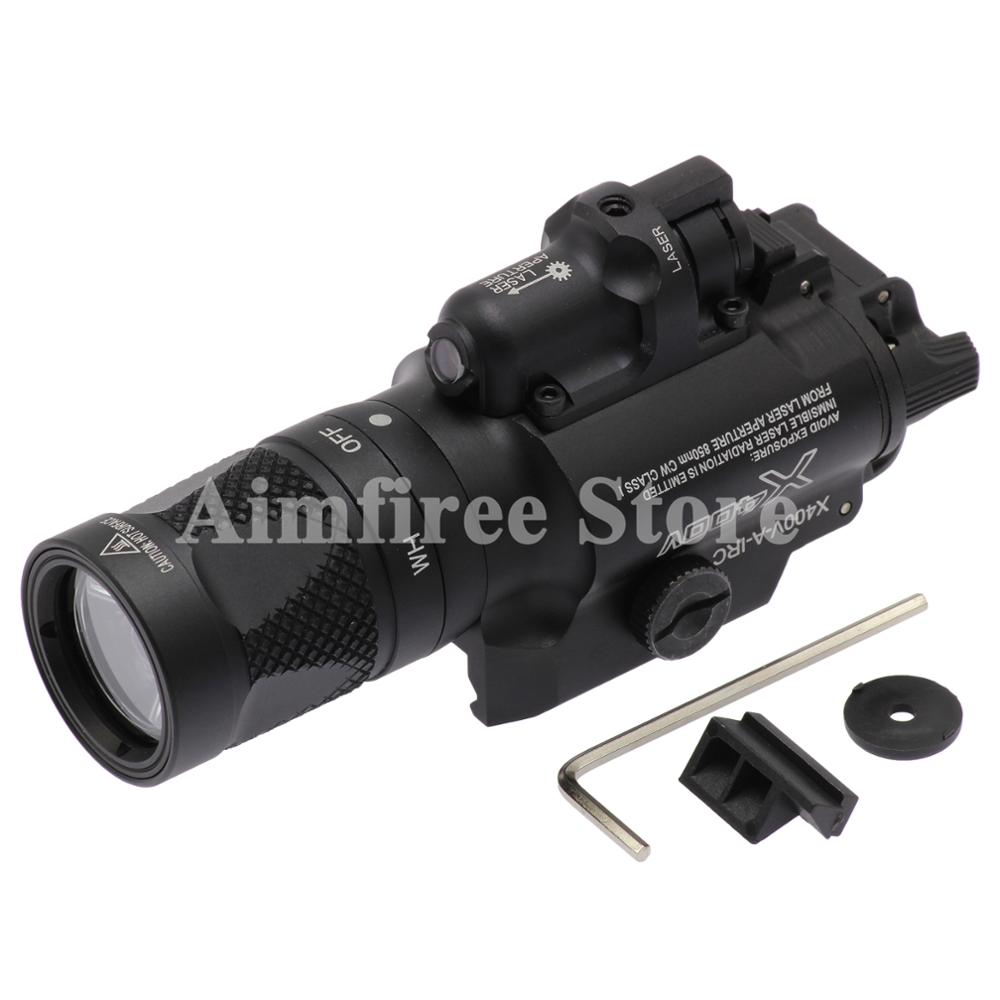 все цены на Tactical X400V Pistol Flashlight Red Laser Combo Constant Momentary Strobe Output Weapon Light Rifle Flashlight