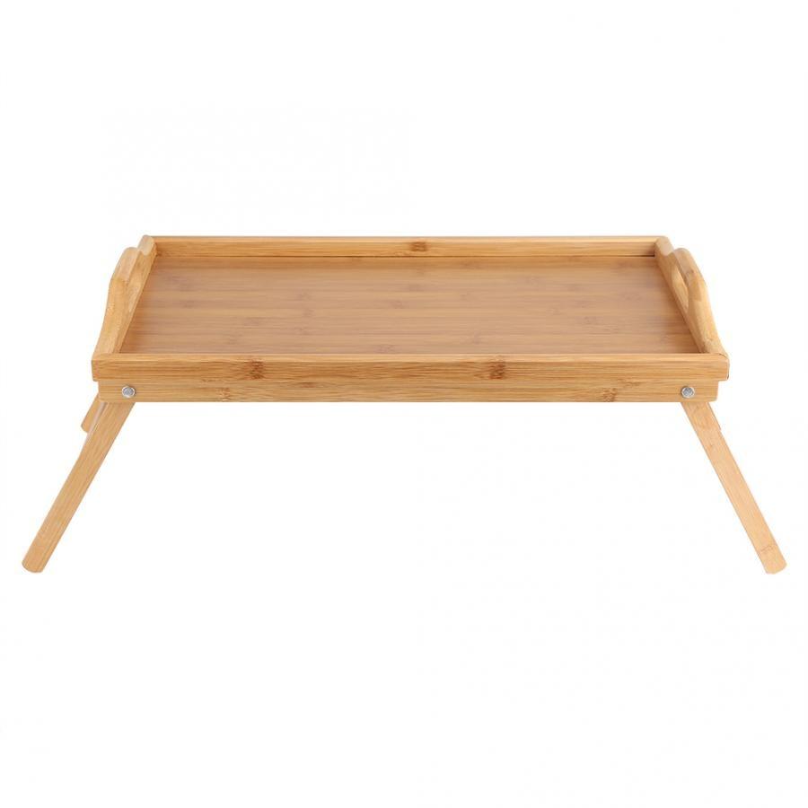 Portable Bamboo Wood Bed Tray Breakfast Laptop Desk Tea Food Serving Table Folding Leg 50*30cm