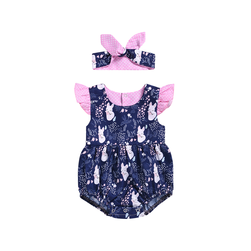 Summer Infant Newborn Baby Girl Clothing Cartoon Ruffles Baby Girl Rompers Jumpsuit Headband Cotton Clothes For Baby Girl Summer