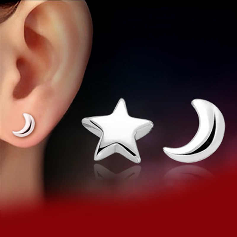 2ac03bf9d ... KITEAL 2018 New Fashion Plated Silver Tiny Cute Teens Simple Elegant  Moon and Star Studs Earrings ...