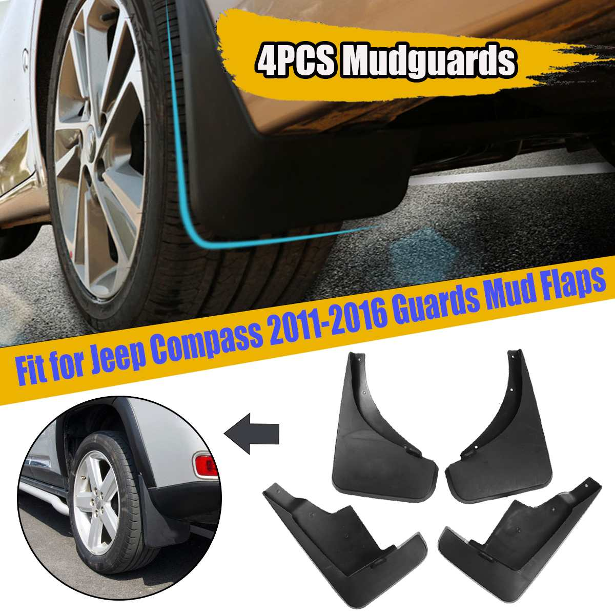 Mud Flaps Splash Guards Wheel Fender Mudguard for Jeep Patriot 2011 2012 2013 2014 2015 4PCS