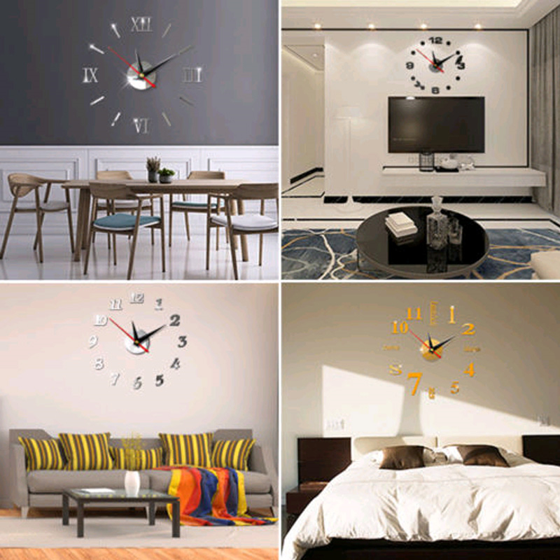 Image 2 - DIY 3D Roman Numbers Watch Wall Clock Home Decor Mirror Wall Sticker 4 Colors Acrylic Mirror Wall Sticker Wall Clock-in Wall Stickers from Home & Garden