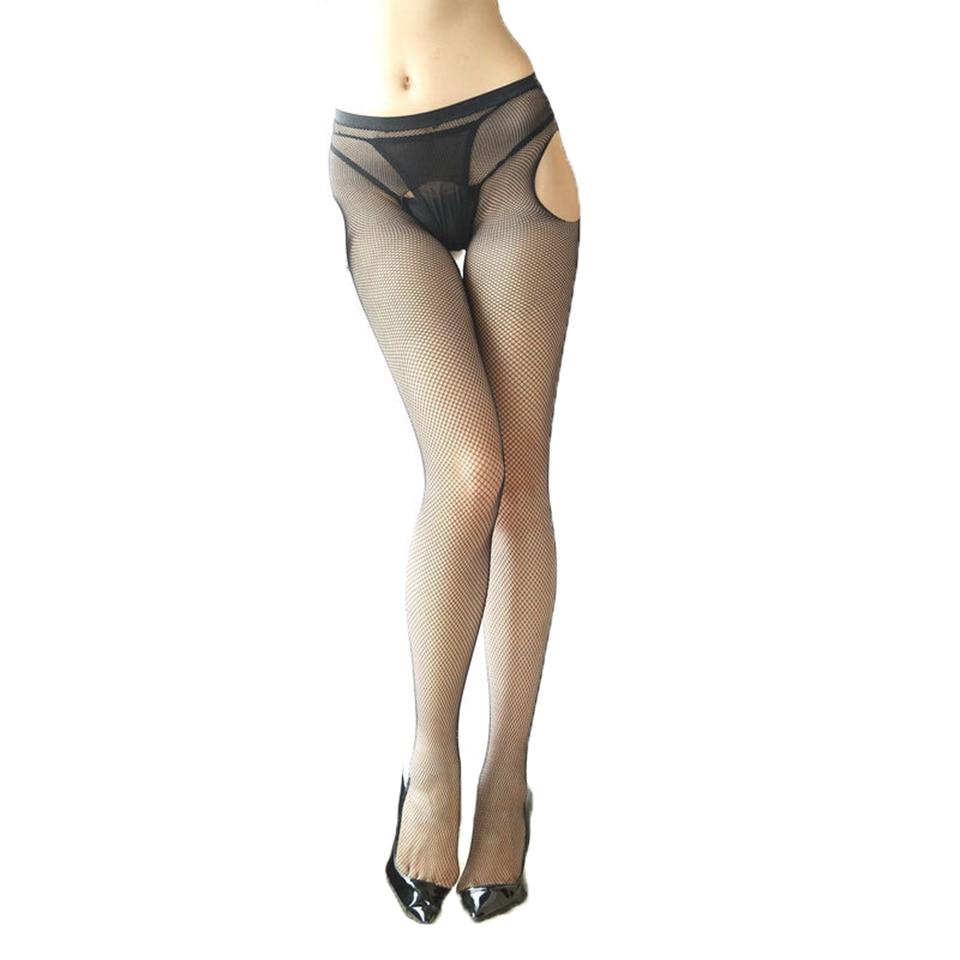 Seluar ketat Selangkangan terbuka seksi Wanita Pantyhose elastik Seluar ketat Selangkangan lembut wanita Collant Femme Fishnet Strumpfhose