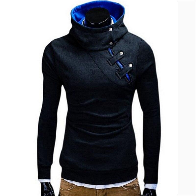 Мужская Новая зимняя повседневная индивидуальная косая молния с капюшоном толстовки пальто сплошной цвет с длинными рукавами рубашка мужс... - 3
