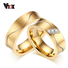 Vnox 2pcs/lots Couples Wedding Ring for Women and Men Gold-color Stainless Steel Jewelry(China)