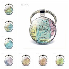 Vintage American Map Glass Cabochon KeyChain United States Virginia Portland Florida Keys Pendant Key Chain Rings Fashion Gift(China)