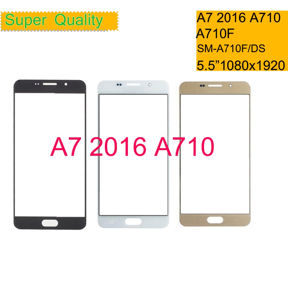 50Pcs lot For Samsung Galaxy A7 2016 A710 A710F SM A710F DS Touch Screen Front Glass Panel TouchScreen Outer Glass Lens NO LCD in Mobile Phone Touch Panel from Cellphones Telecommunications