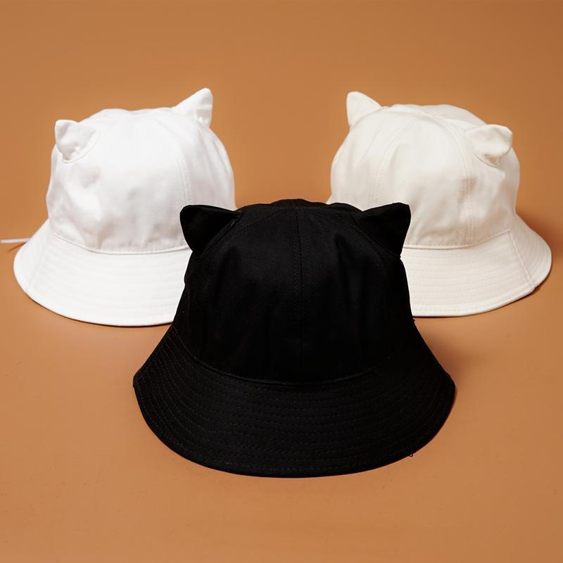Летняя шляпка шапочка для взрослых дышащие хлопковые шапки для взрослых кошачьи ушки Солнцезащитная Шляпа Унисекс милые однотонные мужски...