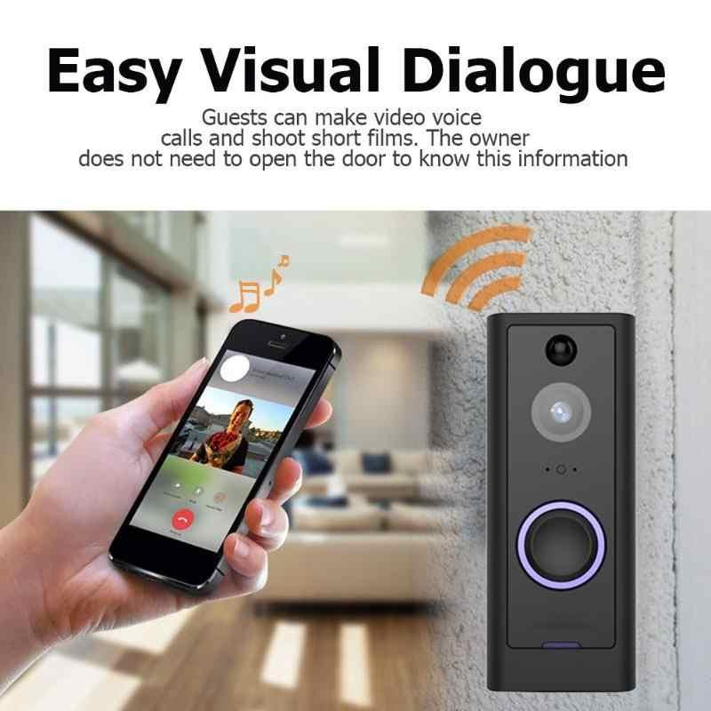 الذكية اللاسلكية واي فاي الأمن العين جرس الباب البصرية تسجيل عن بعد مراقبة المنزل للرؤية الليلية فيديو إنترفون مكالمة هاتفية الجرس