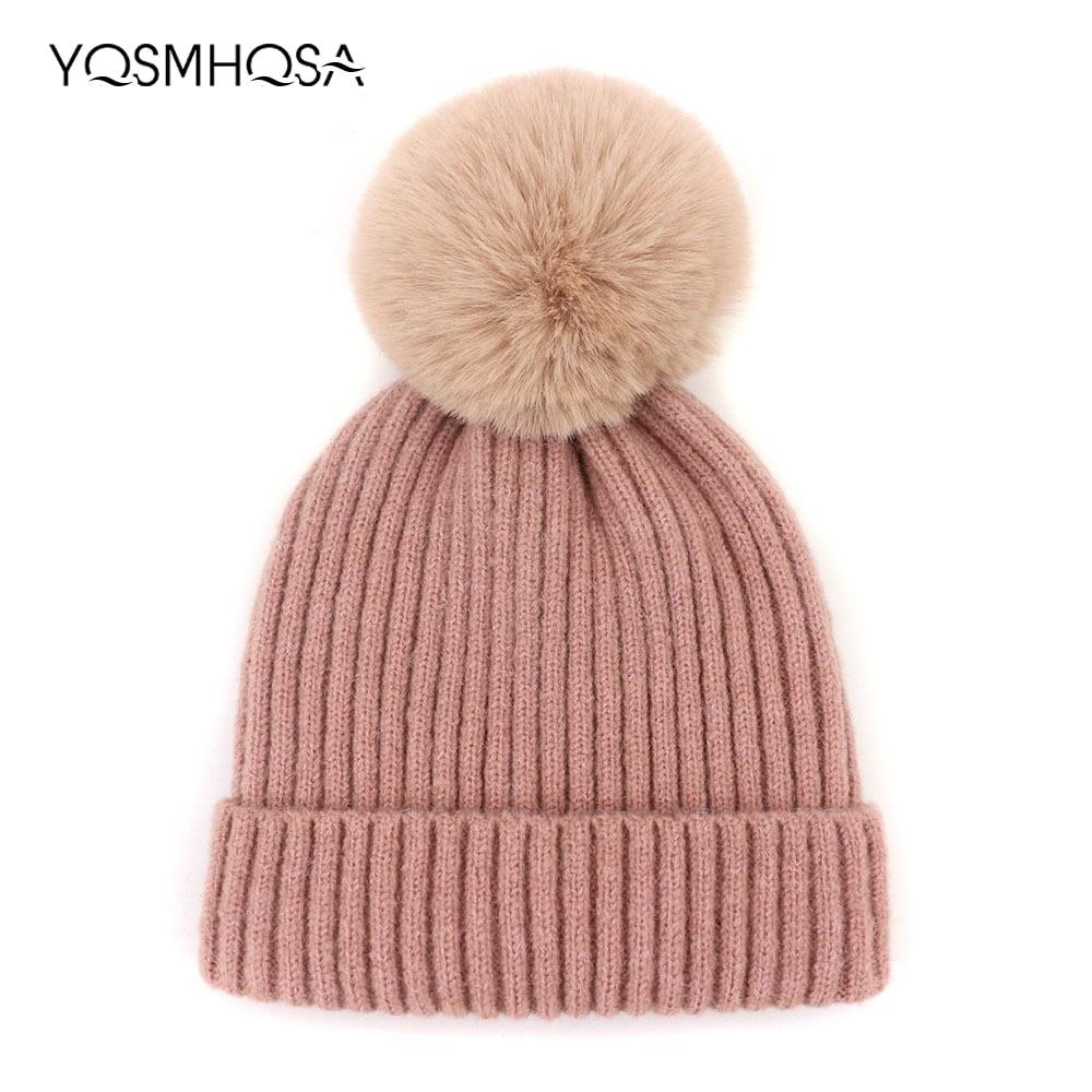 Unisex Wool Knit Winter Pompon Beanie Cap Women Fur Pompom Girls Winter Hats  Pom Pom Hat Bonnet Femme Skullies Beanies WH005 d8d292cbbb