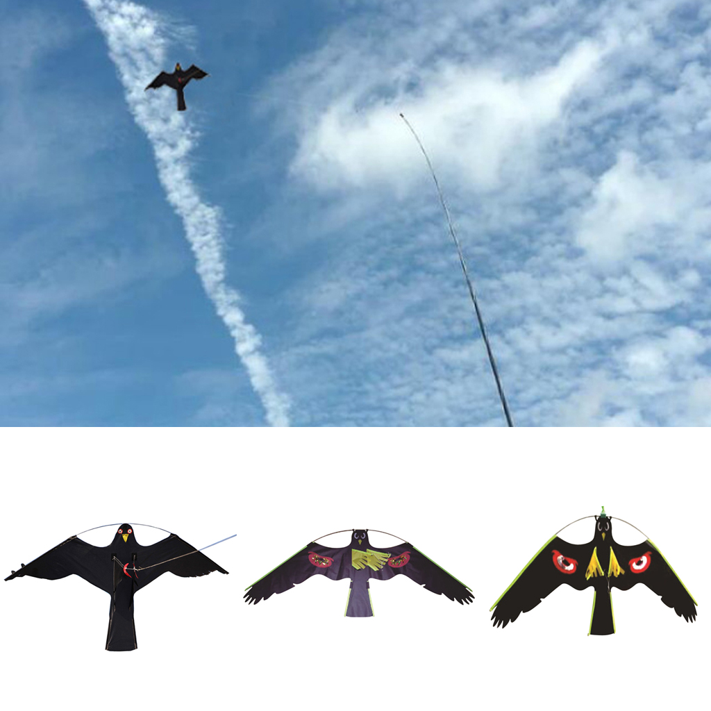 3x faucon cerf-volant oiseau Scarer protéger agriculteurs cultures enfants cerf-volant jouet Animal chaussette à vent épouvantail hibou oiseau exécution hirondelle leurre