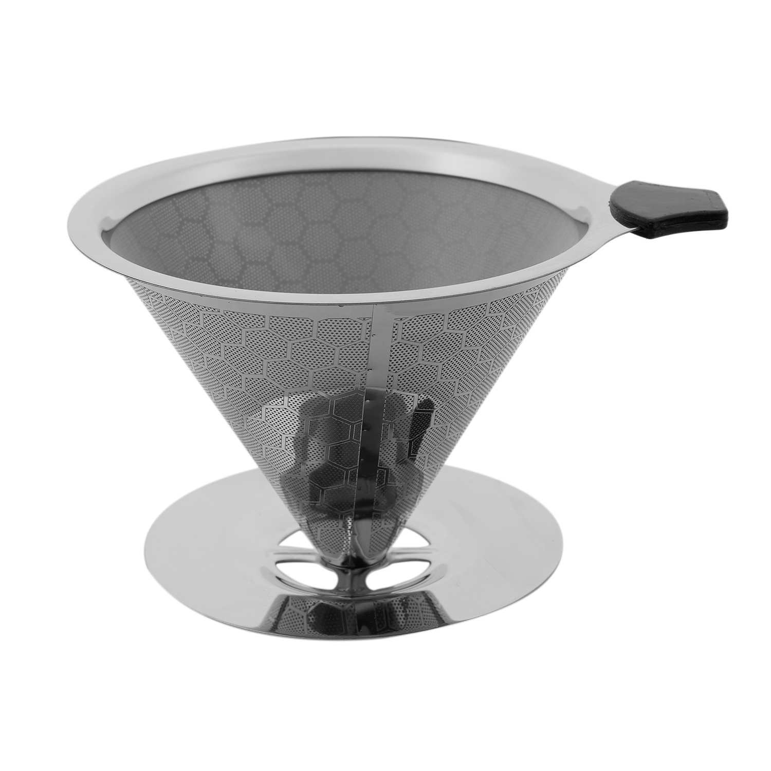 Stainless Steel Double Layer Coffee Filter Reusable Pour Over Coffee Dripper Cone With Non-Slip Stand And Brush Honeycomb