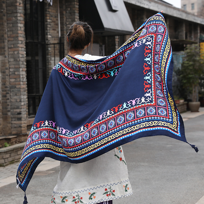 Women Spring and Autumn Summer Cotton Hemp Large   Scarf     Wraps   Sunscreen Beach Towels Air Conditioning Shawls 180*100cm