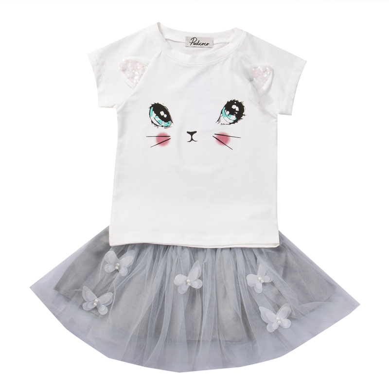 Mother & Kids Alert Canis 2019 New Toddler Infant Child Kids Baby Girls Outfits Spring Summer Clothes Cute Cat Print T Shirt Tops Skirt Dress Set Clothing Sets
