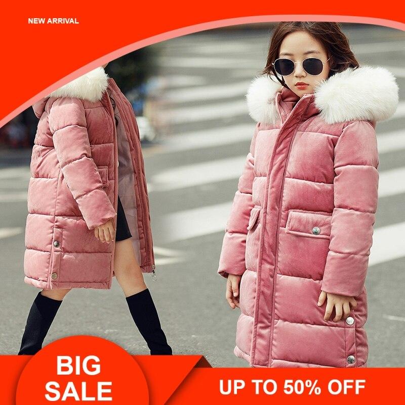 Детские куртки до 30 градусов, детская одежда с подкладкой, 2018 г., теплый зимний пуховик утолщенный, верхняя одежда для больших девочек