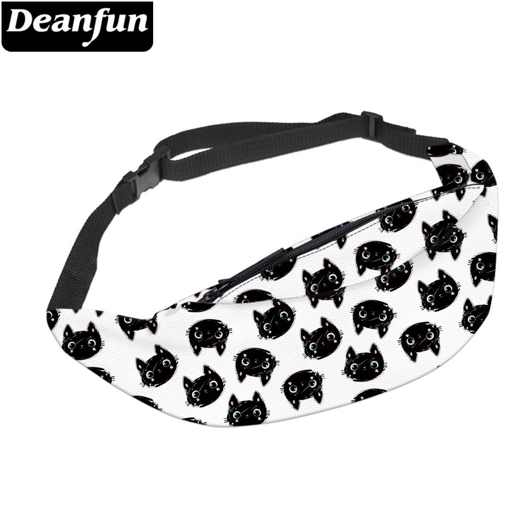 Deanfun Waterproof Lovely Cat Black Fanny Packs For Men White Waist Pack Gift Hip Bum Bag For Traveling  YB-60
