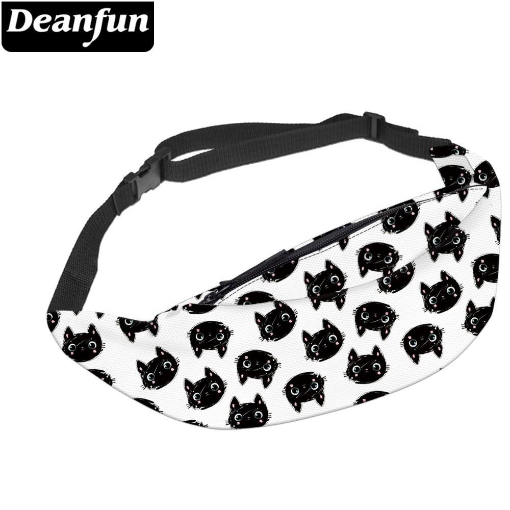 Deanfun Waterproof Lovely Cat Black Fanny Packs For Men White Waist Pack Gift Hip Bum Bag For Traveling  YB-60