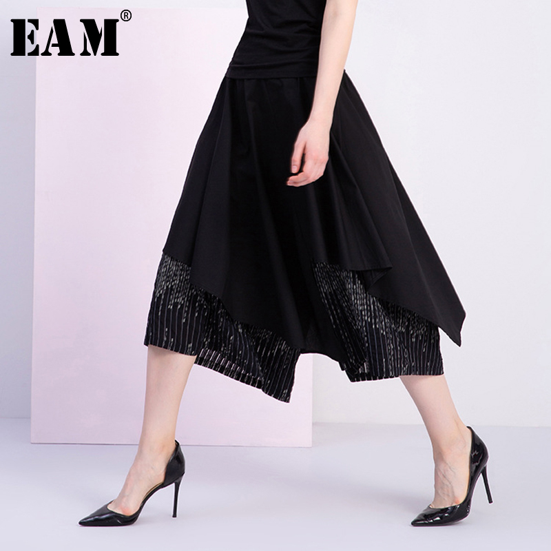 [EAM] 2019 New Spring Summer High Elastic Waist Black Chiffon Split Joint Loose   Wide     Leg     Pants   Women Trousers Fashion Tide JS875