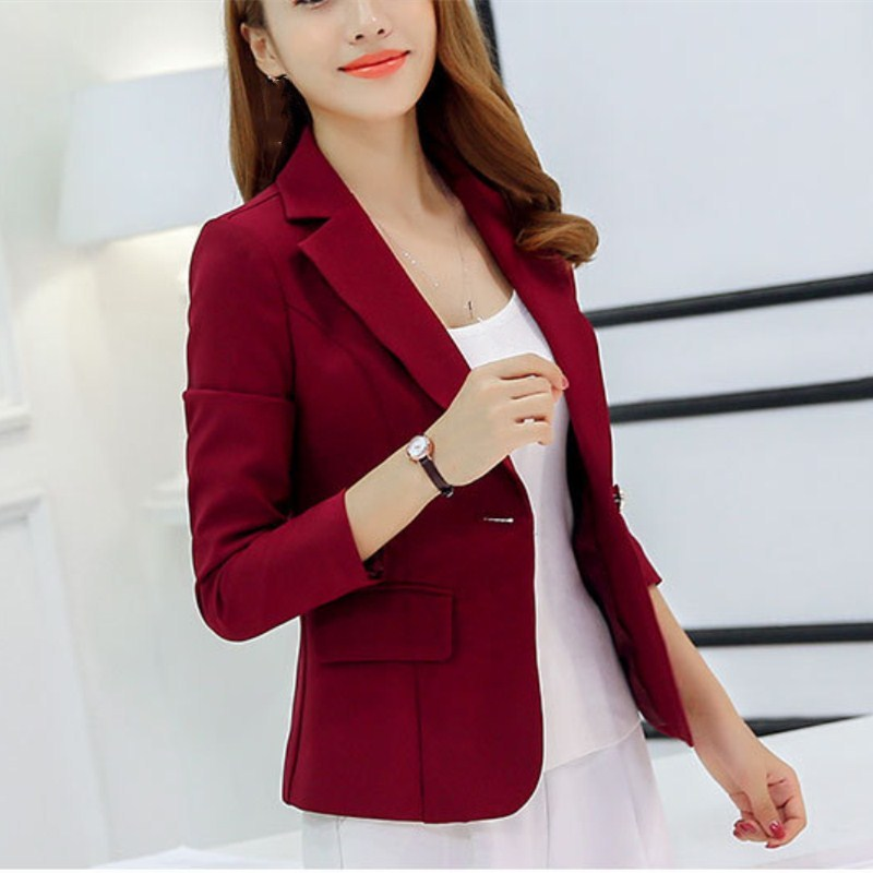 New Fashion Women Notched Collar Solid Jacket Casual Spring Single Button Pockets Slim Thin Blazers