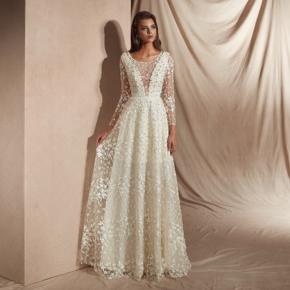 Vivian's Bridal 2019 Spring Fashion Lace Merging   Evening     Dress   Sexy Illusion Mesh Pearls Crystal Appliques Lady Formal Gown