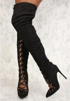 Sexy Black Stretch Fabric Over The Knee Thigh High Boots Pointed toe Cut-out Slim Fit Women High Boots Ladies Shoes With Heel