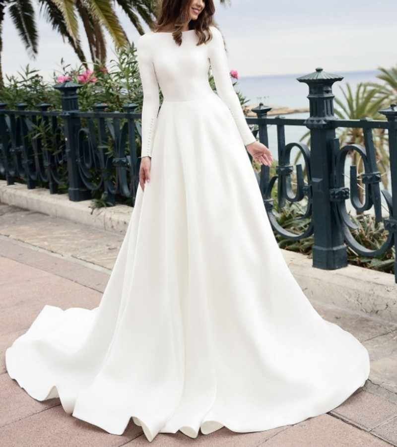 Detail Feedback Questions about Vivian s Bridal 2018 Vintage Soft Satin  Bridal Ball Gown Long Sleeve With Button Reflective Dress Sequin Beading  Wedding ... 79eb137bd046