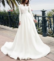 Vivian's Bridal 2018 Vintage Soft Satin Bridal Ball Gown Long Sleeve With Button Reflective Dress Sequin Beading Wedding Dress