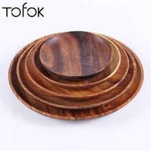 Tofok Round Wooden Plates High Quality Acacia Wood Serving Tray Cake Dishes Kitchen Tableware Plate For Dessert Salad Fruit Bowl