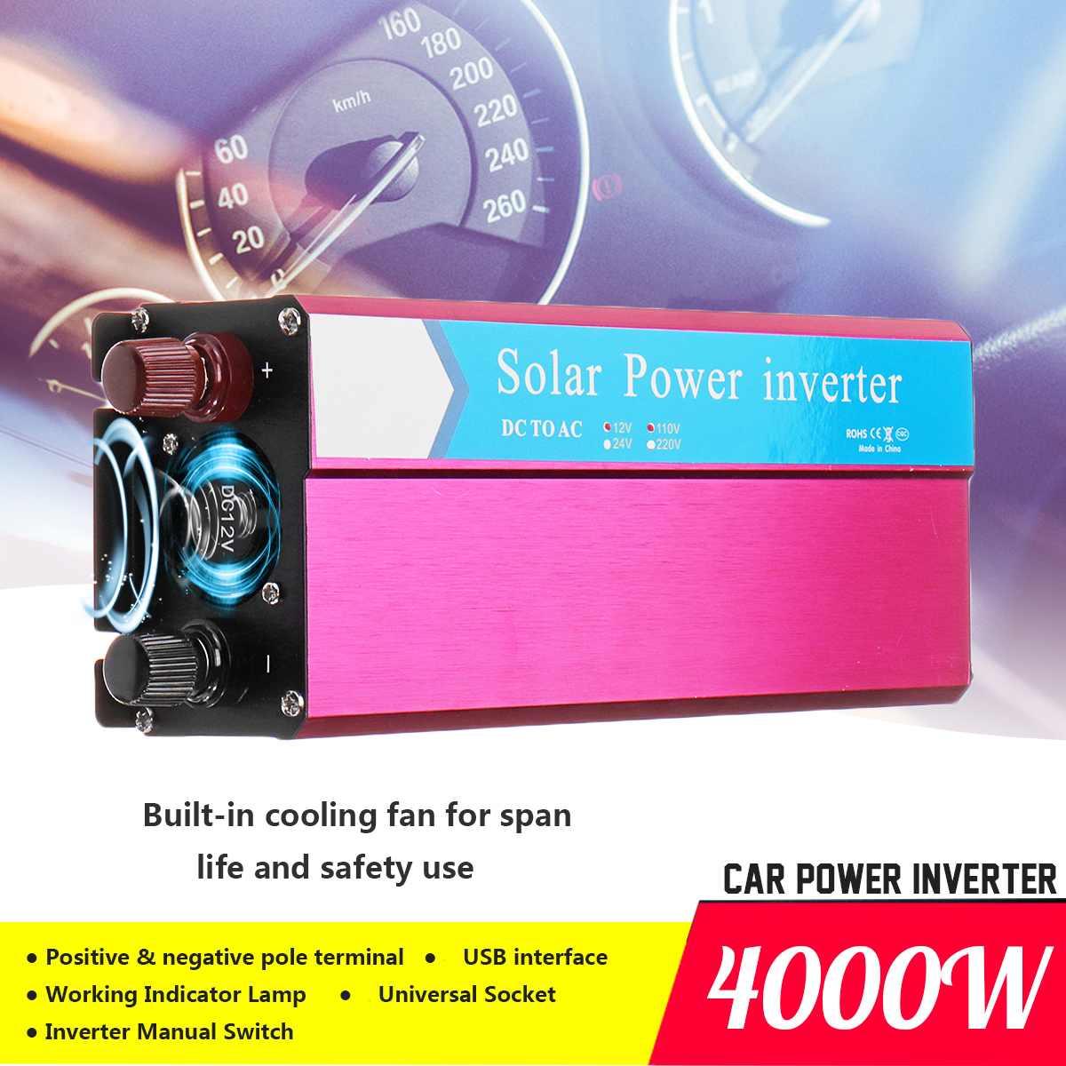 Transformateur de tension P eak 2000 W voiture onduleur solaire DC 12/24 V à AC 220/110 V onde sinusoïdale USB convertisseur robuste et Durable