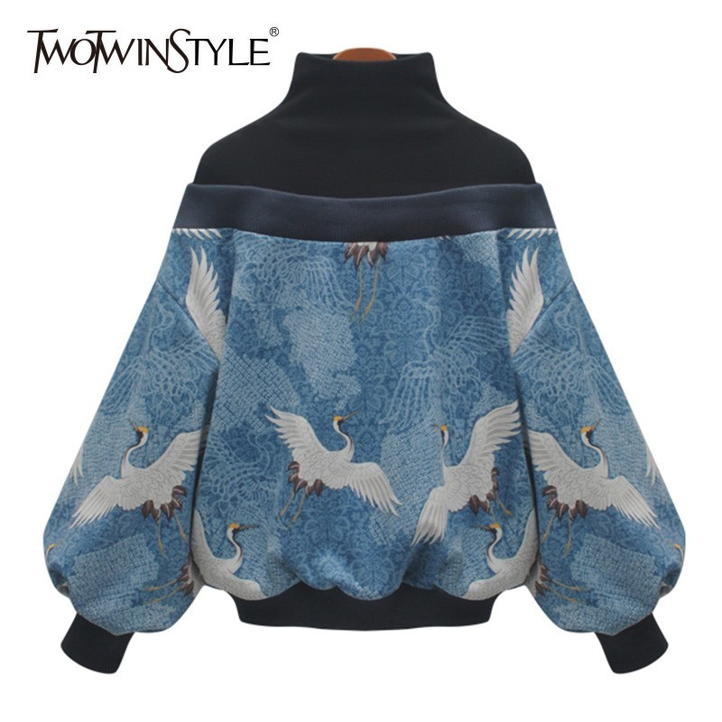 TWOTWINSTYLE Patchwork Print Pullover Tops Female Turtleneck Lantern Long Sleeve Women's Sweatshirts 2019 Spring Fashion Clothes
