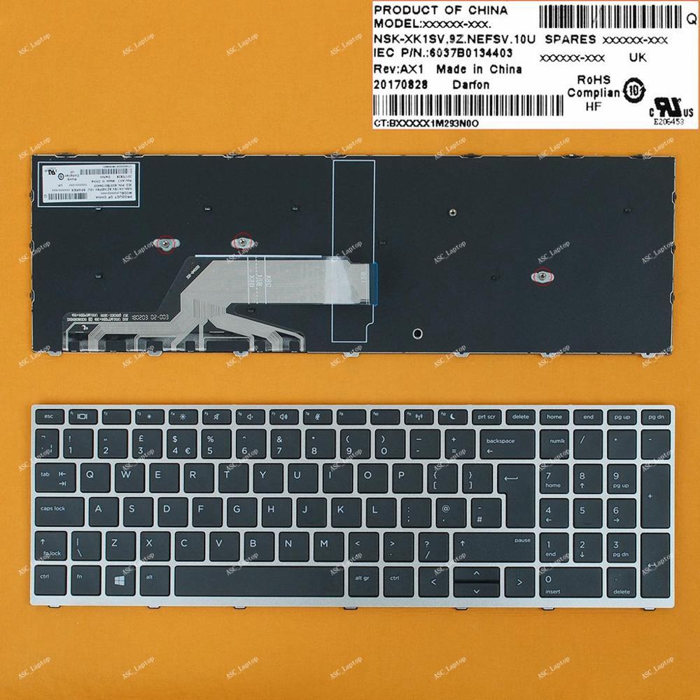 US English Black Frame Backlit Keyboard for HP Probook 450 G5 455 G5 470 G5