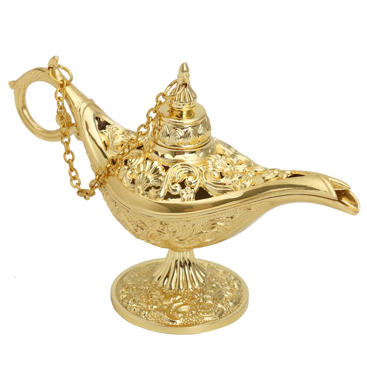 12.8x8.2cm Collectable Classic Carved Rare Legend Aladdin Lamp Novelty Light Lamp Metal Gold Zincalloy Home Decor Craft Gift New