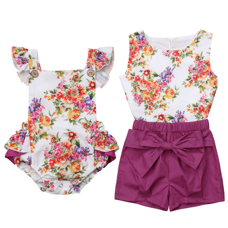 Big Little Sister Matching Clothing Girls Clothes Floral Romper Long Sleeve Tops Bowknot Pants Infant Outfit Baby Clothes Set