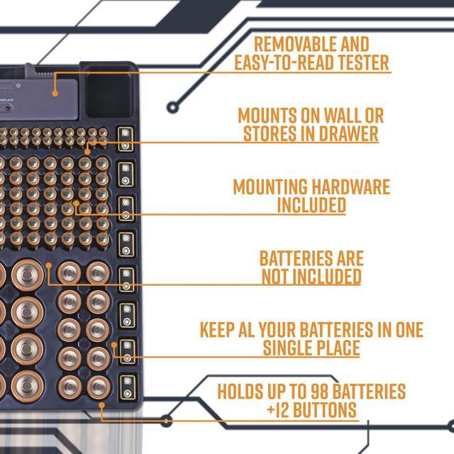 Soporte organizador de almacenamiento de batería HPES w/probador de batería Caddy Rack caja soportes incluyendo bateria Checker para AAA AA C D 9V