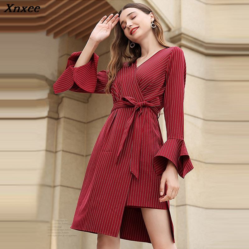 Xnxee Plus Size Autumn Winter Women Dress 2018 Vintage Elegant Solid Party Dress Casual Sexy V Neck Red Dress ukraine 4XL 5XL in Dresses from Women 39 s Clothing
