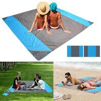 Portable Waterproof Picnic Mat Beach Blanket Casual Square Patchwork Outdoor Camping Gray Black, Blue Pad