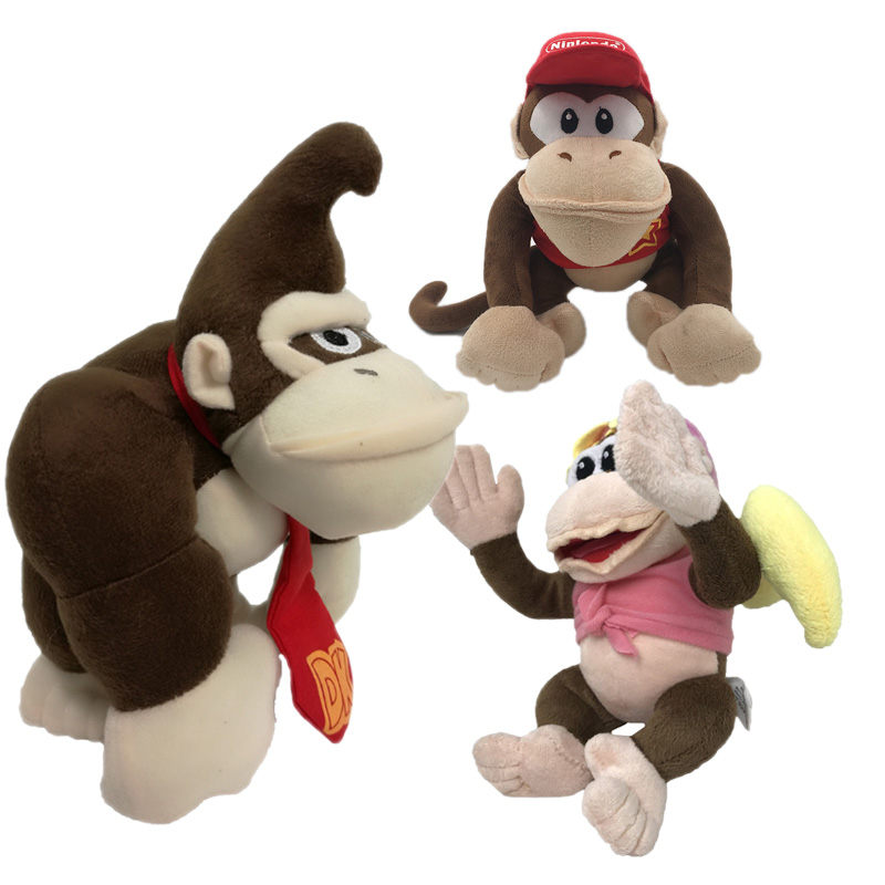 3 Styles Anime Super Mario Bros Donkey Kong Diddy Kong Sister Dixie Peluche Doll Plush Soft Stuffed Baby Toy Christmas Gift