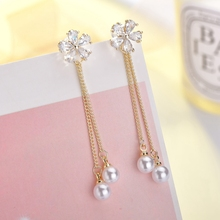 Fashion Cubic Zirconia Flower Pearl Earrings for Women after hanging Crystal Long Earrings Women's Wedding Jewelry beautiful hoop oval earrings pave grey pearl and aaa cubic zirconia crystal high quality fashion jewelry for women