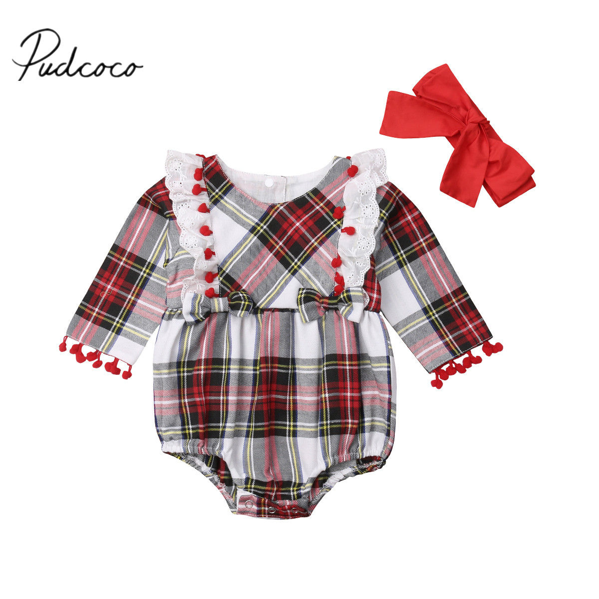 US Newborn Baby Girls Plaids Ruffled Romper Long Sleeves Jumpsuit Clothes 0-24M