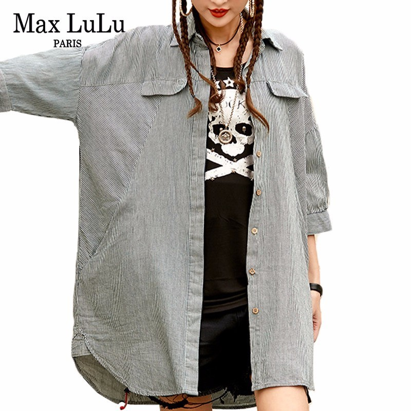 Max Lujo Casual Gray Camisas Tops Ropa De Lulu Tamaño Algodón Blusas Gran Mujer Damas Primavera Striped La Coreana Punk Rayas Marca HnrnTgqx