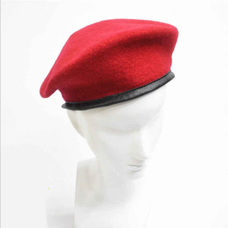 Fasion ejército militar soldado sombrero hombres mujeres boina de lana  uniforme clásico artista boinas sombrero 3ddb04f2f4f