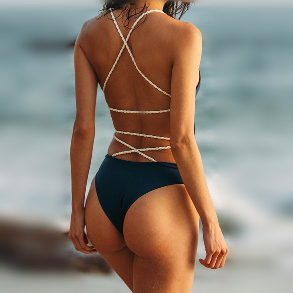 One Piece Swimwear Solid Sexy 2018 Bikini Swimwears Women 39 s Backless Swimwear Beach Summer Wear in Body Suits from Sports amp Entertainment