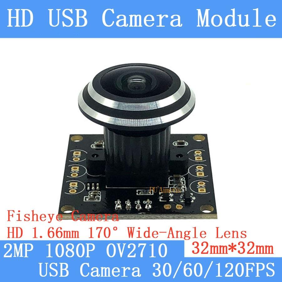 2MP Wide-angle Fisheye Surveillance camera 1080P Full Hd MJPEG 30/60/120FPS Mini CCTV Linux UVC High Speed USB Camera Module