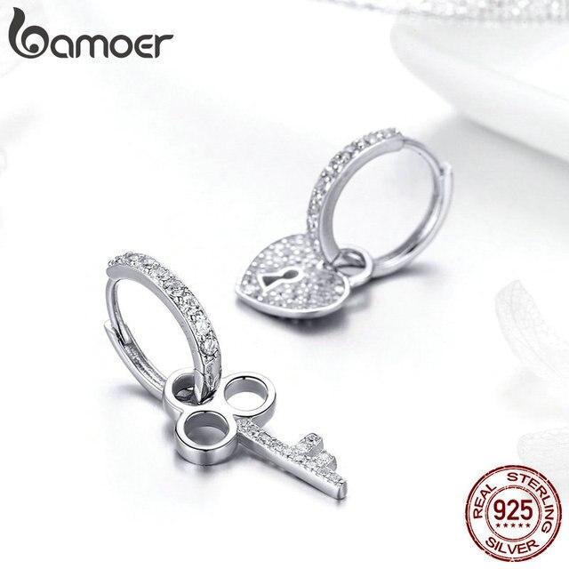 BAMOER 925 Sterling Silver Love Heart Shape Key Lock Drop Earrings 2