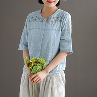 2019 New Style Embroidery Half Sleeve o neck Button Women Hollow out Blouse Spring Summer Cotton Shirts Casual Female Blouse