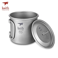 Keith Ti3240 Outdoor Drinkware Foldable Handle Titanium Cup with Cover
