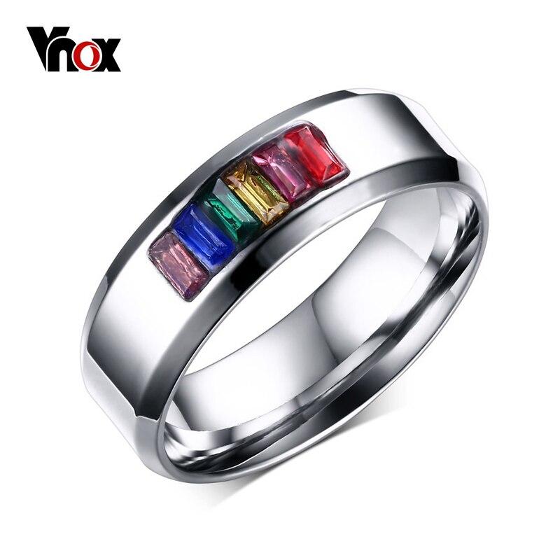 Aggressivo Vnox Anello Di Cristallo Per Le Donne 316l In Acciaio Inox Moda Femminile Arcobaleno Di Pietra Di Colore