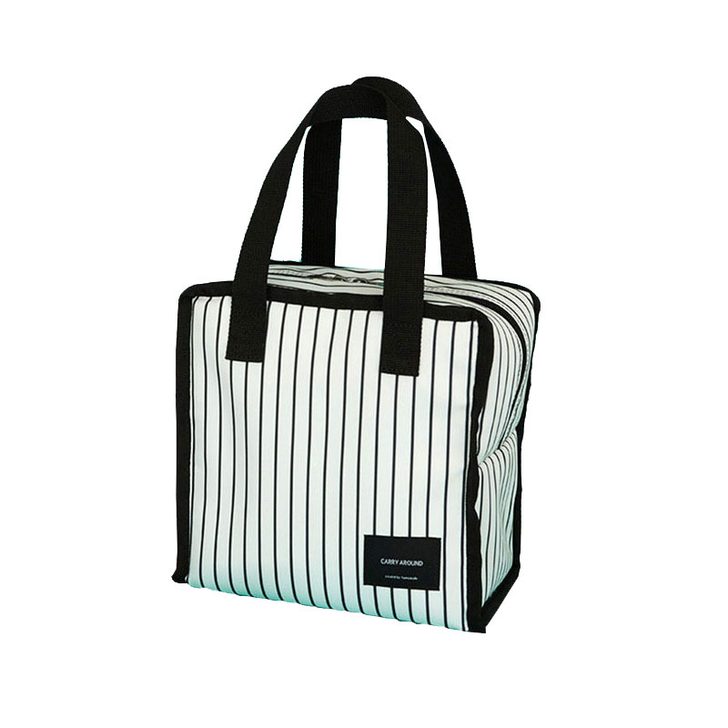 Stripe Portable Insulated Wine Bag Aluminum Foil Material Thermal Lunch Bag Functional Drink Cans Cooler Bag