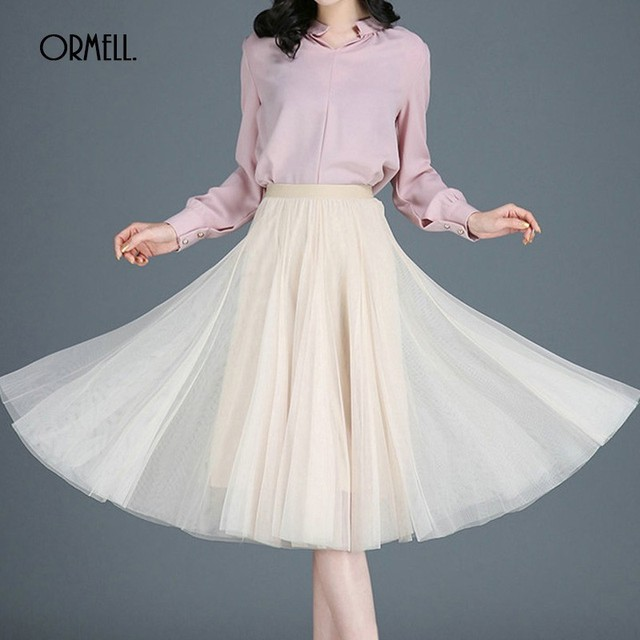 a3affe81cc ORMELL Solid Casual Pleated Tulle Skirt Female 2019 Summer High Waist  Formal Slim Voile A-Line Fashion Party Elastic Tutu Skirt