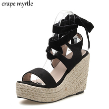 bohemian wedge sandals for women high heels wedges casual shoes lace up sandals high heels Wedges shoes platform sandals YMA789 contract color lace up wedges design sandals